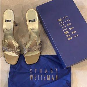 Stuart Weitzman Heels | Gold Matte Lame